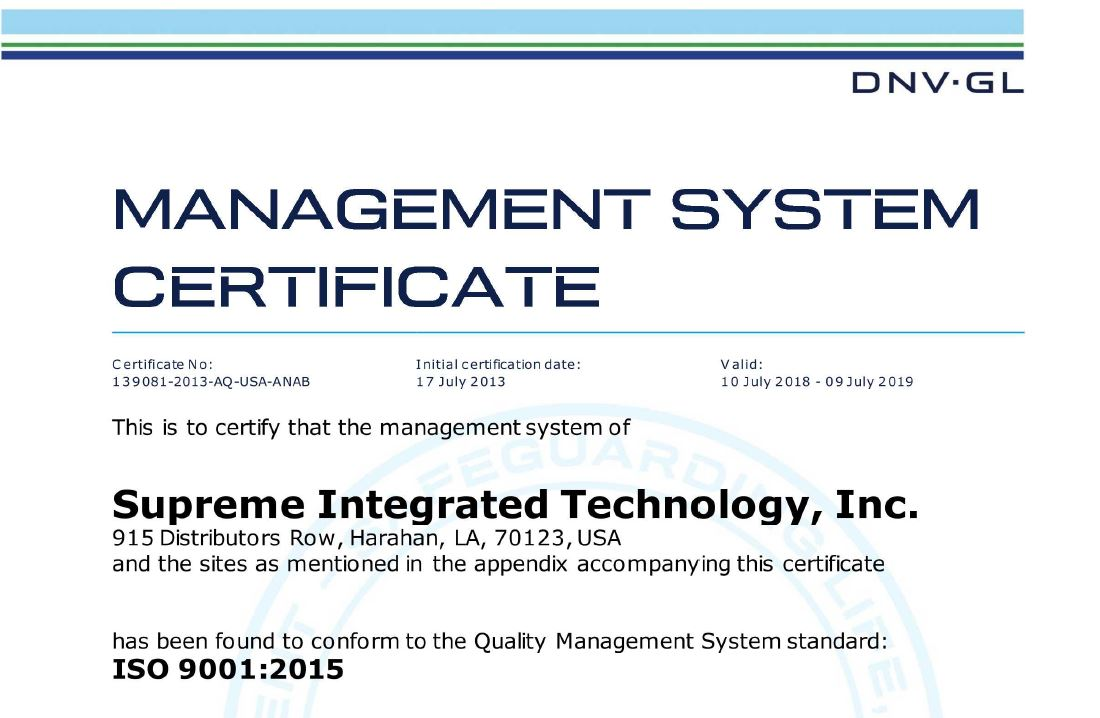 Supreme Integrated Technology, Inc. Successfully Transitions to ISO 9001:2015 Certification